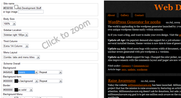 Wordpress Theme Generator Screenshot