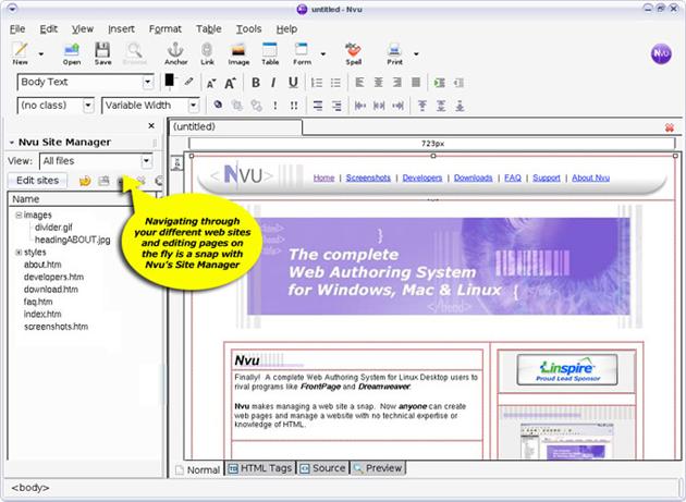 NVU WYSIWYG HTML Editor. Website: http://net2.com/nvu/. Share and Enjoy: